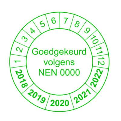 Goedgekeurd volgens Nen groene Rand versie1 - keuringssticker