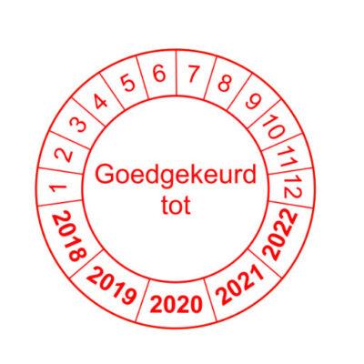 Goedgekeurd tot - rode rand versie 1 - keuringssticker