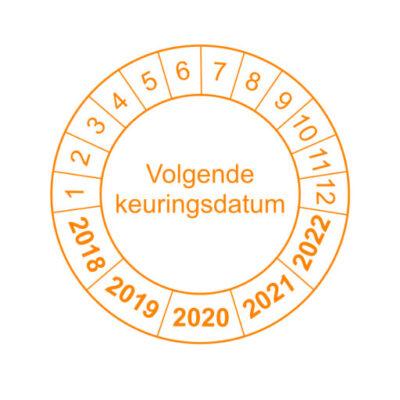 Volgende keuringsdatum oranje rand versie 1- keuringssticker