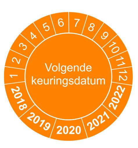 Volgende keuringsdatum oranje versie 1- keuringssticker