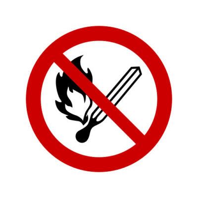 Vuur, Open Vlam, Roken Verboden - verbodssticker