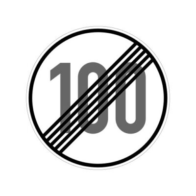 Einde Maximum Snelheid 100 Km Per Uur - verkeeersbordsticker
