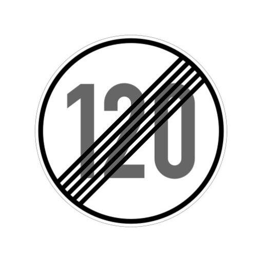 Einde Maximum Snelheid 120 Km Per Uur - verkeersbordsticker