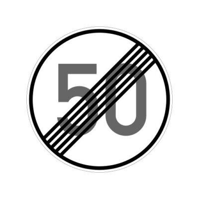 Einde Maximum Snelheid 50 Km Per Uur - verkeersbordsticker