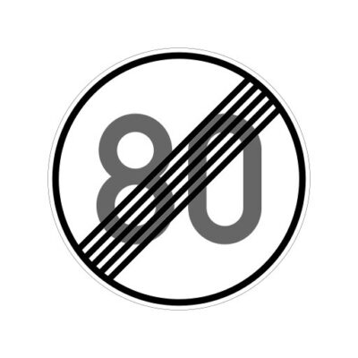 Einde Maximum Snelheid 80 Km Per Uur - verkeersbordsticker