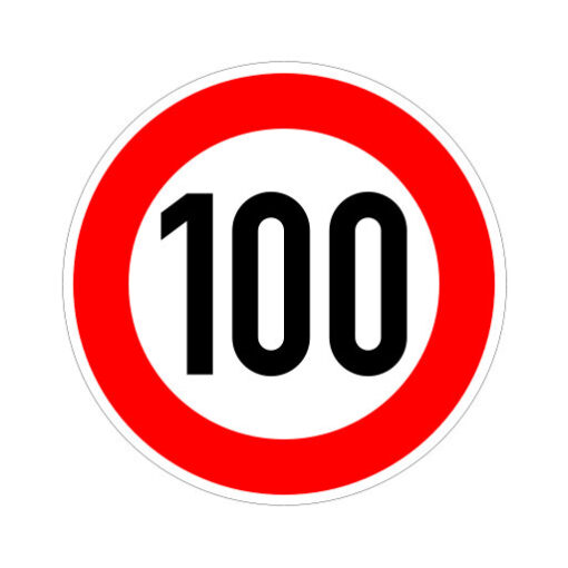 Maximum Snelheid 100 Km Per Uur - verkeerstbordsticker