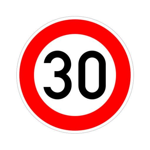 Maximum Snelheid 30 Km Per Uur - verkeersbordsticker