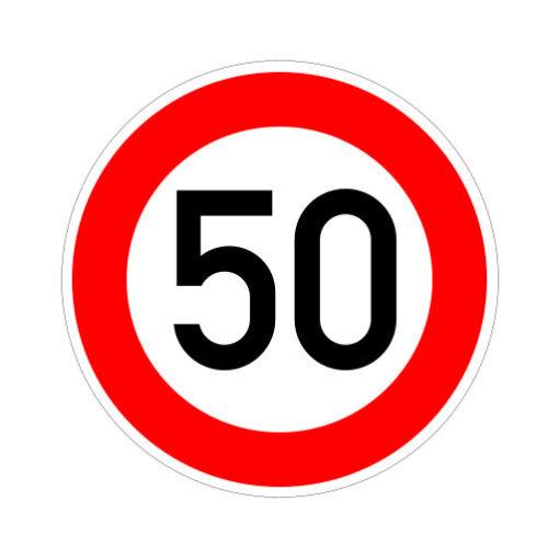 Maximum Snelheid 50 Km Per Uur - verkeersbordsticker