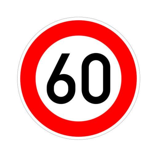 Maximum Snelheid 60 Km Per Uur - verkeersbordsticker