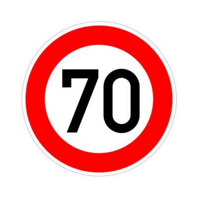 Maximum Snelheid 70 Km Per Uur - verkeersbordsticker