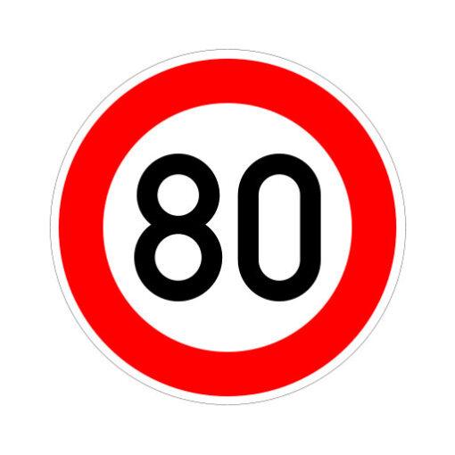Maximum Snelheid 80 Km Per Uur - verkeersbordsticker