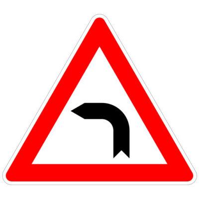 Opletten Bocht Naar Links - verkeersbordsticker
