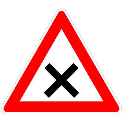 Opletten Gevaarlijk Kruispunt - verkeersbordsticker