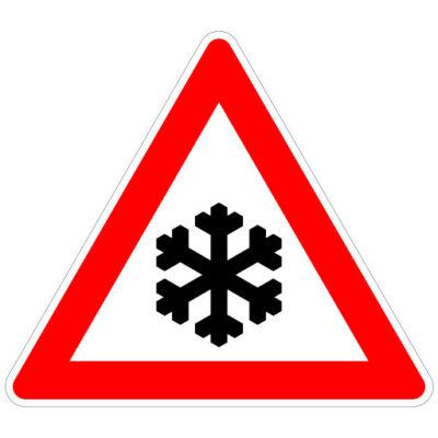 Opletten Ijzel Of Sneeuw - verkeersbordsticker