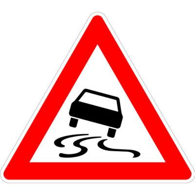 Opletten Slipgevaar - verkeersbordsticker