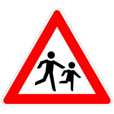 Opletten Spelende Kinderen - verkeersbordsticker
