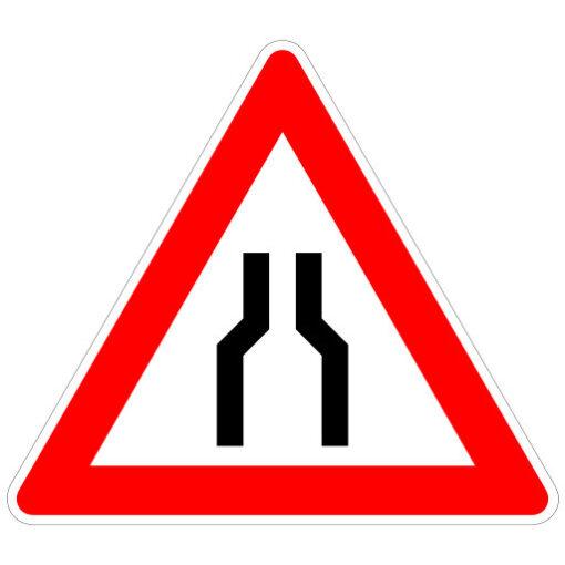 Opletten Wegversmalling - verkeersbordsticker